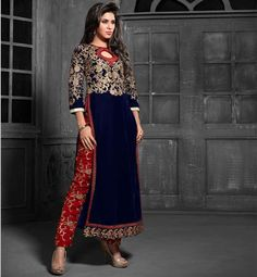 Z Fashion Trend: AMAZING BLUE AND RED EMBROIDERED STRAIGHT DESIGNER...