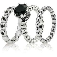 51b0db9fc PANDORA Ring Gift Set - Midnight Enchantment ($150) found on Polyvore Black Pandora  Ring