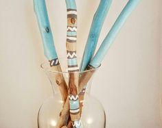 Palillos de madera pintados (Costa Azul - Set 1)