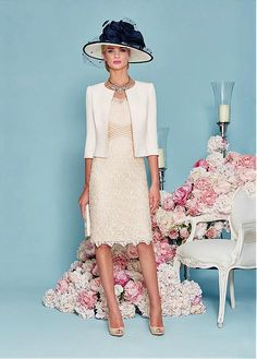 Buy discount Alluring Lace Scoop Neckline Sheath Mother of The Bride Dress With Beading at Magbridal.com