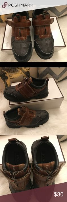 POLO RALPH LAUREN short boots. Size: 4.5 big boys POLO by RALPH LAUREN short leather boots. Brown and black with gold hardware. Good condition! Size: 4.5 big boys Polo by Ralph Lauren Shoes Boots