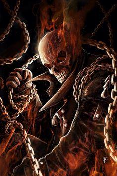 Ghost Rider (Johnny Blaze) by Riccardo Fasoli Ghost Rider Johnny Blaze, Ghost Rider Marvel, Comic Books Art, Comic Art, Grim Reaper Art, Spirit Of Vengeance, Skull Pictures, Marvel Comics Art, Skull Art