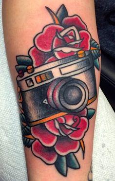 Traditional camera with roses done by Matt Nemeth. One Word Tattoos, Up Tattoos, Small Tattoos, White Tattoos, Ankle Tattoos, Wrist Tattoo, Arrow Tattoos, Tiny Tattoo, Temporary Tattoos
