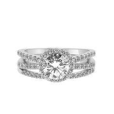 Double Shank 1 Carat Halo CZ Engagement Ring with Matching Band – CZ Sparkle Jewelry®