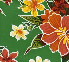 Green Hibiscus Oilcloth Fabric by the Yard www.oilclothalley.com