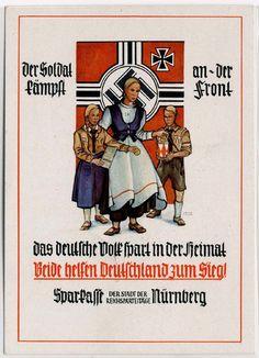 "Der SOLDAT kämpft an der FRONT - Werbekarte der Sparkasse ""Reichsparteitag Nürnberg"", S-o, mit HJ"