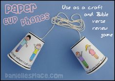 Paper Cup Phone Craft and Bible Verse Review Game for Children's Sunday School