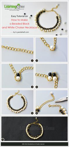 Easy Tutorial on How to Make a Beaded Black and White Choker Necklace from LC.Pandahall.com