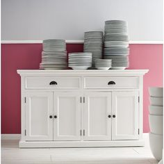 Store your extra dinnerware, flatware, and table linens in a buffet table or sideboard. Shop our great selection of stylish buffet tables and sideboards. White Sideboard Buffet, White Buffet, Solid Wood Sideboard, Dining Buffet, Kitchen Buffet, Large Sideboard, Buffet Cabinet, Cabinet Doors, Room Kitchen