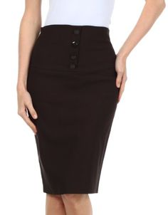 Sakkas Petite High Waist Stretch Pencil Skirt with Four Button Detail -- Click on the image for additional details.