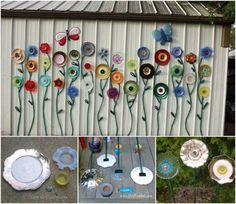 Totally adorable diy Plate and Hose Flower Garden Art. Perfect way to liven up the side of the ugly old garden shed.