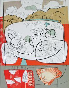 Amy Chapman Birdie  collagraph print over collage  29 x 37cm
