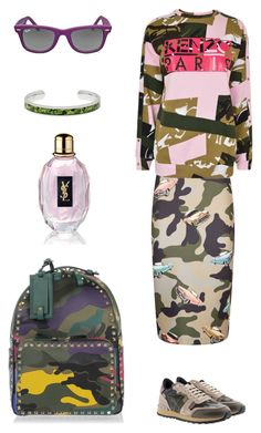 """""""Camouflage"""" by valelondon on Polyvore featuring moda, Valentino, Pinko, Kenzo, Ray-Ban e Yves Saint Laurent"""