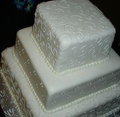 Square Wedding Cake, Swirly Piping