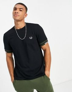 Fred Perry abstract cuff t-shirt in black Fred Perry, Mens Tops, T Shirt, Color, Products, Fashion, Stripes, Black T Shirt, Short Sleeves