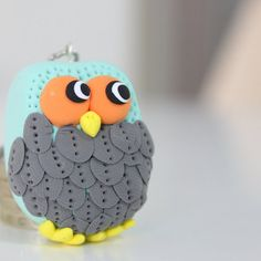 Grey feathers owl keychain, under 10 gift