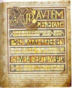 "Illuminated Manuscript - Stockholm Codex Aureus (Stockholm, Swedish Royal Library, MS A. 35, also known as the ""Codex Aureus of Canterbury"") VIII cent., Canterbury."