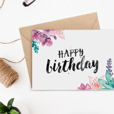 its stunning brush lettering and watercolour florals, this printable birthday card will delight any woman or girl.With its stunning brush lettering and watercolour florals, this printable birthday card will delight any woman or girl. Birthday Cards For Her, Bday Cards, Printable Birthday Cards, Happy Birthday Cards Handmade, Card Birthday, Simple Birthday Cards, Birthday Greetings, Printable Valentine, Birthday Images