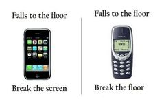 the good old days..I had that old Nokia bar phone.... It flew into traffic. My iPhone hits the sofa and I freak out.