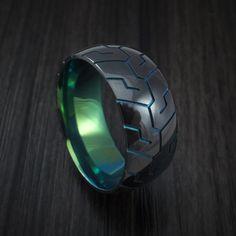 Black Zirconium Anodized Tire Tread Ring Custom Made Band