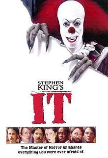 IT - 1989 - A clown rips through a white background, with its monster claws, and a crazed smile. At the bottom, there are small photographs of the films main characters (Richie, Eddie, Stan, Beverly, Mike, Ben & Bill).