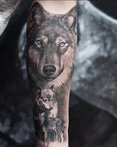 Wolf Face Tattoo, Wolf Tattoo Forearm, Wolf Tattoos Men, Animal Tattoos, Wolf Sleeve, Wolf Tattoo Sleeve, Sleeve Tattoos, Dream Tattoos, Badass Tattoos