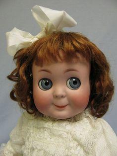 "Antique 1910 15"" K * R 131 Googly Doll Blue glass sleep eyes, slant hip toddler"