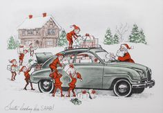 Design is fine. History is mine. — Saab Christmas Cards, late 1950s. Santa Claus and...