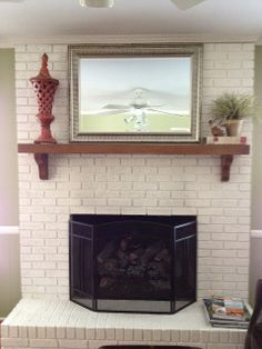 Painted Brick Fireplace Goode House Home Decor Coaxing Paint White Color White Brick, House Styles, White Brick Fireplace, Rustic House, Fireplace Design, Brick Fireplace Makeover, Painted Brick Fireplaces, Farmhouse Fireplace, Fireplace