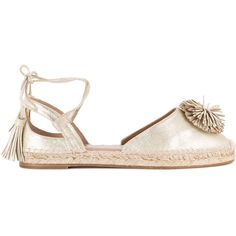 Aquazzura Sunshine espadrilles (1.890 BRL) ❤ liked on Polyvore featuring shoes, sandals, grey, metallic shoes, aquazzura sandals, gray sandals, aquazzura and grey sandals