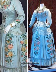 Fashion History Museum added a new photo. Victorian Era Dresses, Victorian Costume, Vintage Dresses, Vintage Outfits, 1880s Fashion, Victorian Fashion, Vintage Fashion, Historical Costume, Historical Clothing