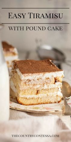 Traditional tiramisu is a lot of work and finding ingredients can be hard! Easy tiramisu with pound cake makes this a crowd pleasing, no-cook favorite that uses easy to find ingredients. via @contessa_cooks