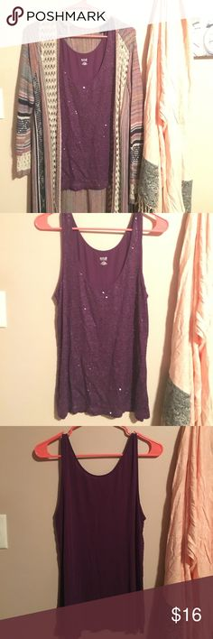 A.N.A. Purple sequin sleeveless blouse Gently used purple tank top. The front of the blouse is full purple sequins and back of tank is solid purple. 95% rayon, very stretchy material. 🌟PLEASE DO NOT leave offers in the comments section, use the offer Button instead! ☺️THANK YOU a.n.a Tops Tank Tops