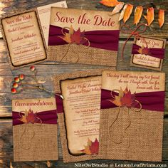 This stunning rustic fall wedding invitation in autumn colors of burnt orange, rust, gold and brown has images of dried maple leaves on it with a printed golden twine bow and burgundy wine colored PRINTED on ribbon on a faux brown burlap textured backgrou Diy Invitation, Wedding Invitation Packages, Country Wedding Invitations, Rustic Invitations, Wedding Themes, Wedding Venues, Destination Wedding, Wedding Decorations, Burgundy Wedding Invitations