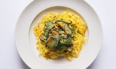 Going for gold: pesto aubergines and pasta.
