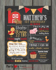Items similar to First Birthday Chalkboard Poster, First Birthday Milestone Chalkboard, Printable Chalkboard Poster, Farm Chalkboard Poster, Farm Birthday on Etsy Farm Birthday, Baby 1st Birthday, First Birthday Parties, Birthday Party Themes, Birthday Ideas, Birthday Banners, Birthday Invitations, Birthday Design, Birthday Decorations