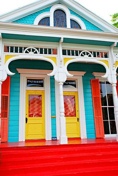 Double shotgun house, new orleans colorful exterior