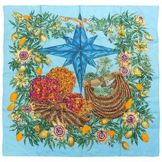 """Hermes Silk Scarf"""" Passiflores"""" By Valerie Dumoulin TURQUISE BLUE"""