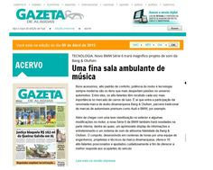 Título: Uma fina sala ambulante de música. Veículo: Gazeta de Alagoas. Data: 09/04/2015. Cliente: Bang&Olufsen