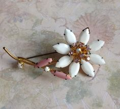 Pink and White Vintage Brooch  Pin Flower Stem Goldtone Rhinestone Navettes Milkglass Signed Austria Retro Jewelry by MarveltyVintage on Etsy
