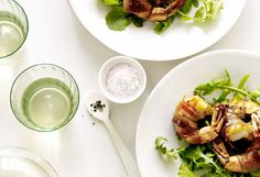 Arugula Salad with Honey-Glazed Bacon-Wrapped Shrimp  The vinaigrette-dressed greens provide a satisfying tang that plays off the richness of the bacon, which also provides a salty counterpart to the slight sweetness of the jumbo shrimp.