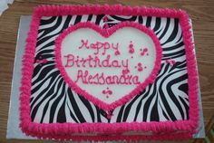 Wilton Zebra pattern sugar sheets and buttercream....Marble cake filled with bavarian cream and fresh sliced bananas.