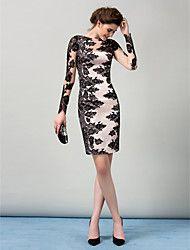 TS+Couture+Coquetel+Vestido+-+Sensual+Tubinho+Canoa+Até+os+Joelhos+Cetim+Elástico+com+Renda+–+USD+$+119.99