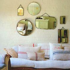 Assorted Pillows & Gallery Wall of Mirrors - An Indian Summer Design Blog