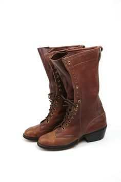 LACE UP Leather Western Granny Boots Sz 8 //  via Etsy.