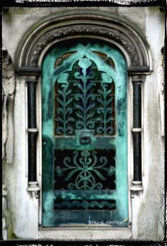 Weathered copper doors, Brompton Cemetery