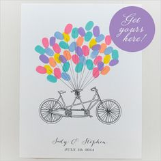 thumb print bicycle guestbook | diy your own guestbook | free guestbook printable | #weddingchicks