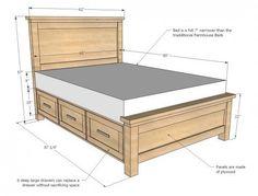 Farmhouse Storage Bed with Storage Drawers