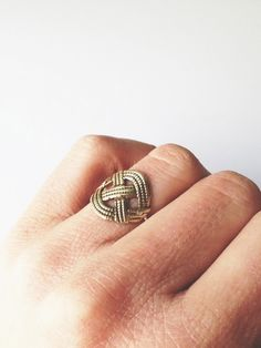 Criss-crossing rope style ring made