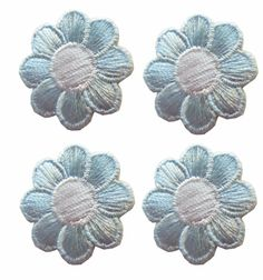 Lot 4Pcs Spring Light Blue White Daisy Flower Embroidery Iron On Applique Patch